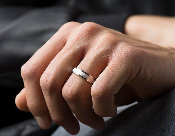 Brushed Wedding Ring 14k 18k White Gold Wedding Band Matte Ring Groove Wedding Band Brushed Inlay Ring Ring With Grooves Satin Ring White Gold Wedding Bands Gold Wedding Band 14k