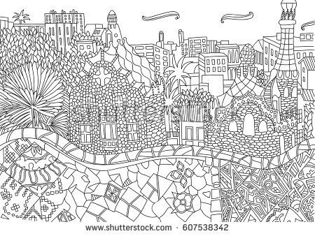 spanish coloring pages for adults | Coloring for adult with Barcelona. Spain. Catalonia ...