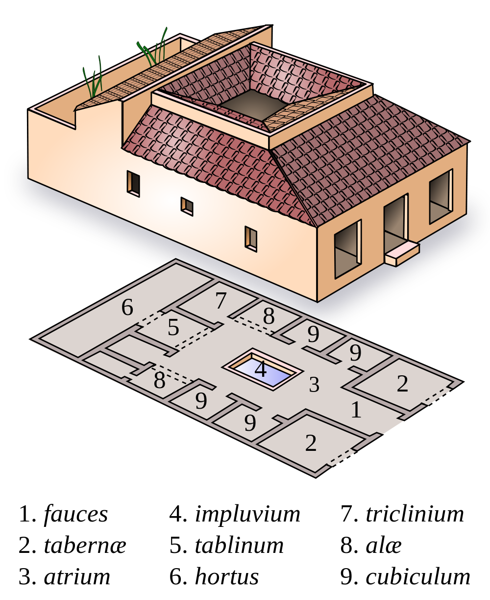 Architectural details of a Domus italica