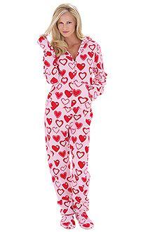 womens hoodie footiestm footie pjs for women footed pajamas pajamagram - Valentines Day Pajamas