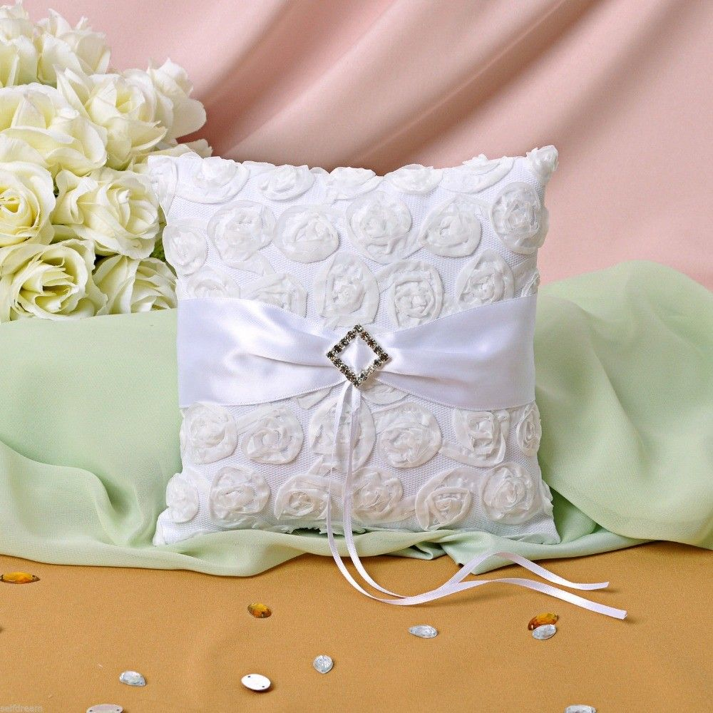 White Flora Rose Satin Ring Bearer Pillow