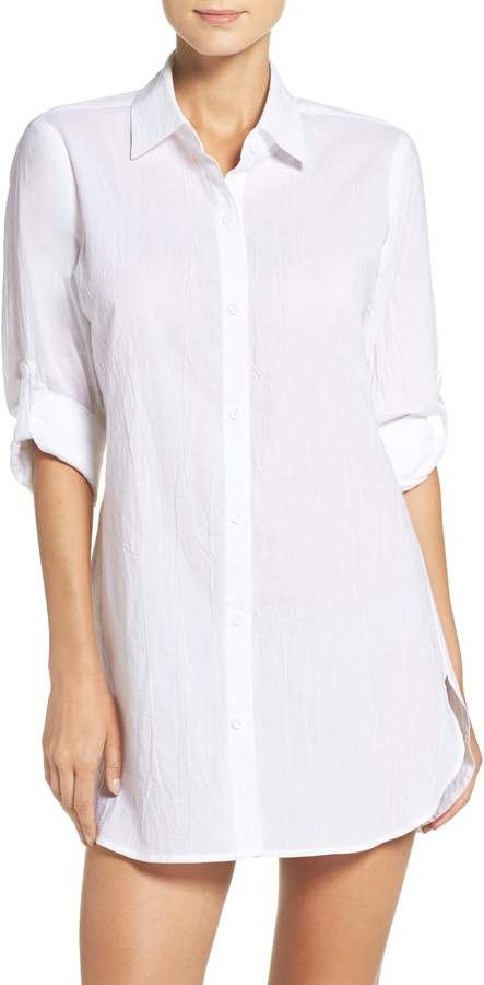 cfb371d0c1 Women's Tommy Bahama Boyfriend Shirt Cover-Up, Size X-Small - White ...