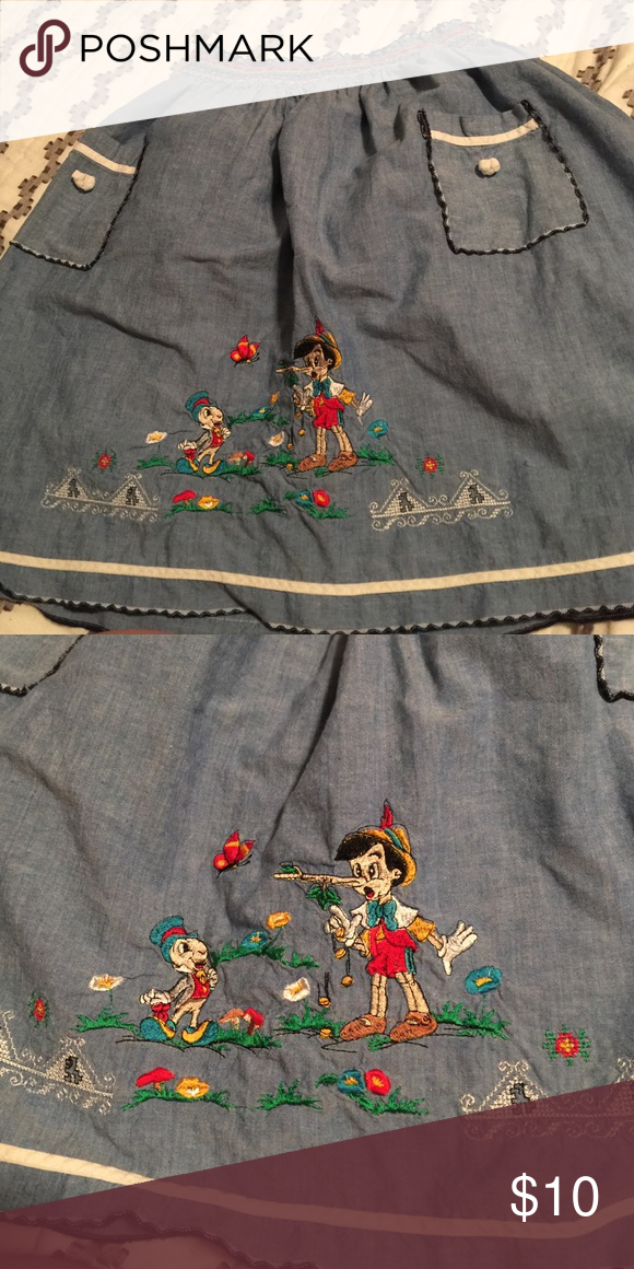 Vintage Disney skirt Cute vintage Disney skirt featuring Pinocchio! Label says size 8, but I am a Large and it fits. Open to reasonable offers. Skirts