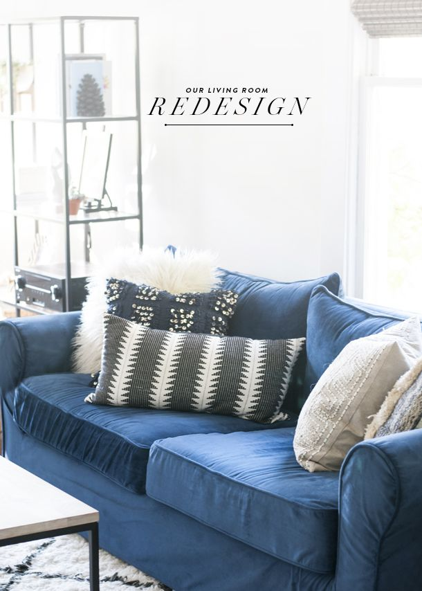 Before After Farmhouse Living Room Redesign Living Room Redesign Blue Couch Living Room Farm House Living Room