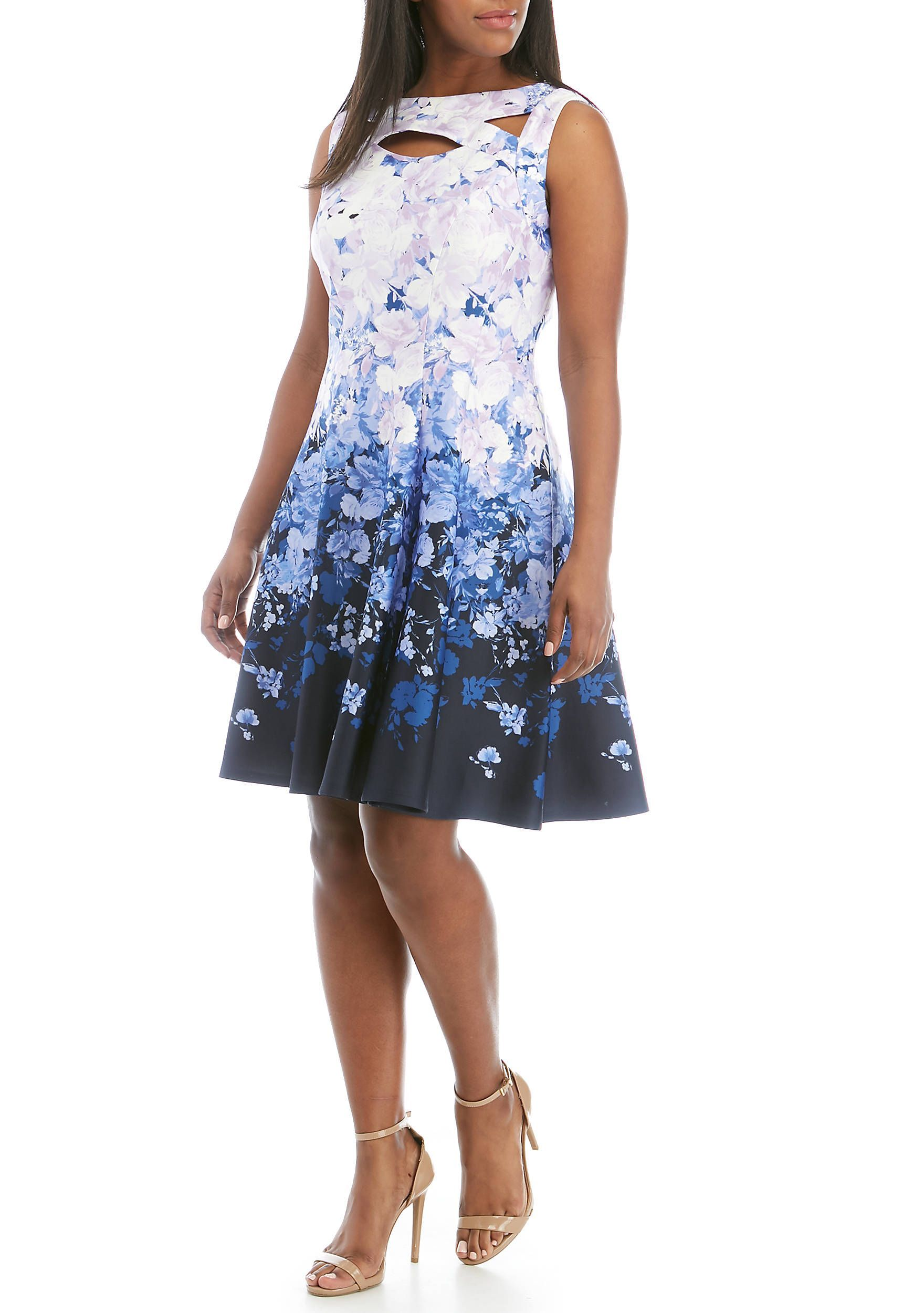 Gabby Skye Plus Size Cutout Floral Fit and Flare Dress | belk ...