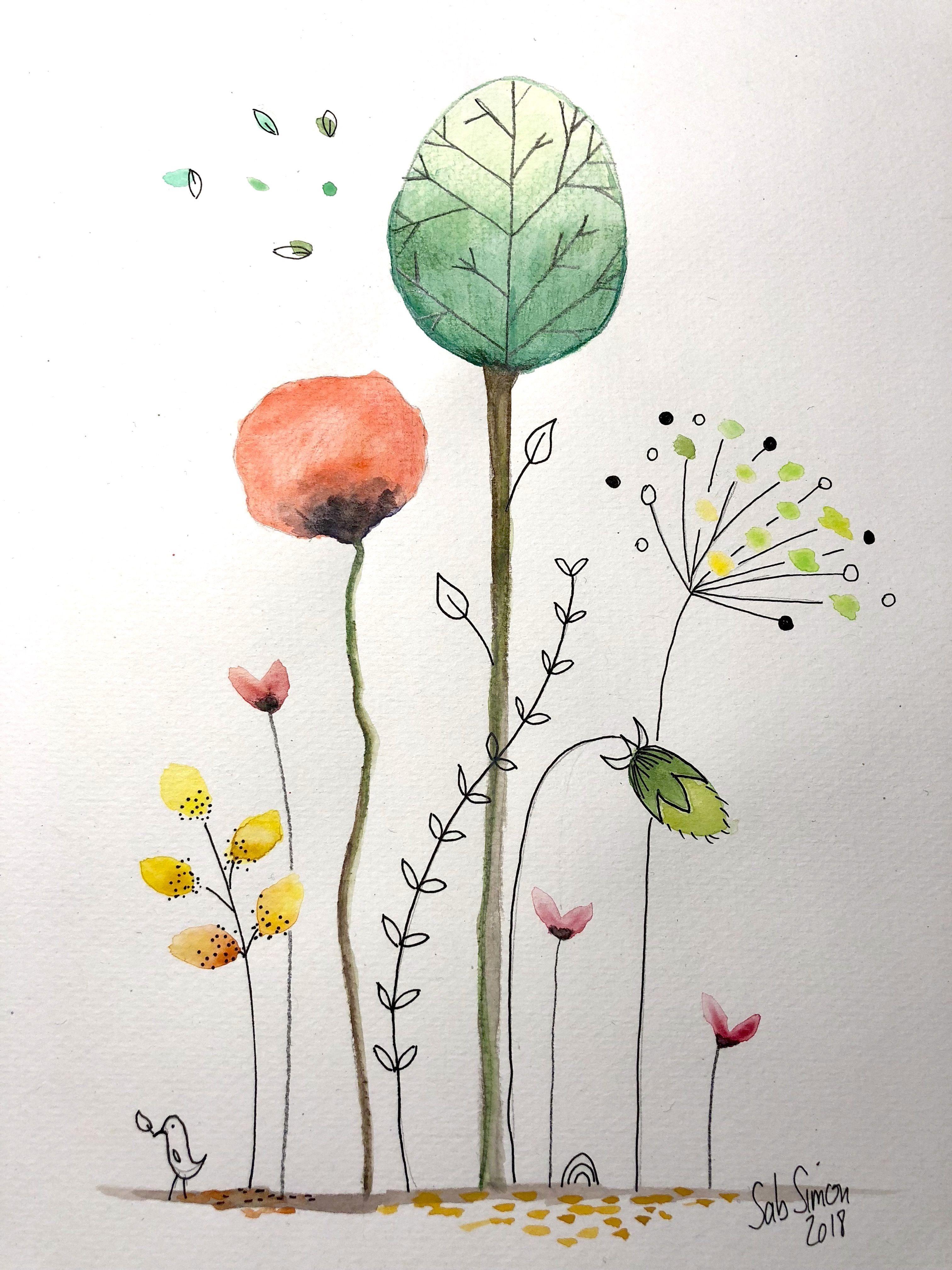 Aquarelle Aux Crayons Caran D Ache Facon Cecile Hudrisier