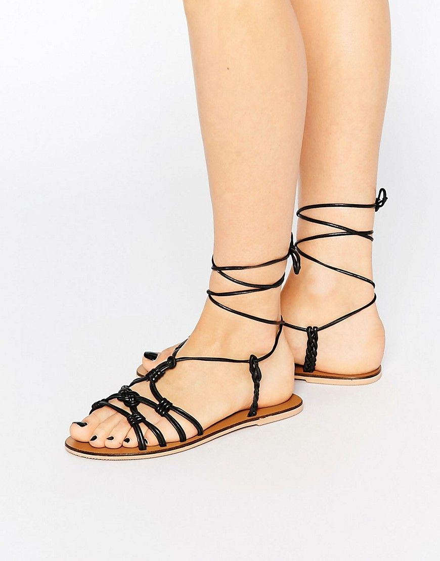 0eead7723f92 Image 1 of ASOS FRILL Leather Knotted Tie Leg Sandals
