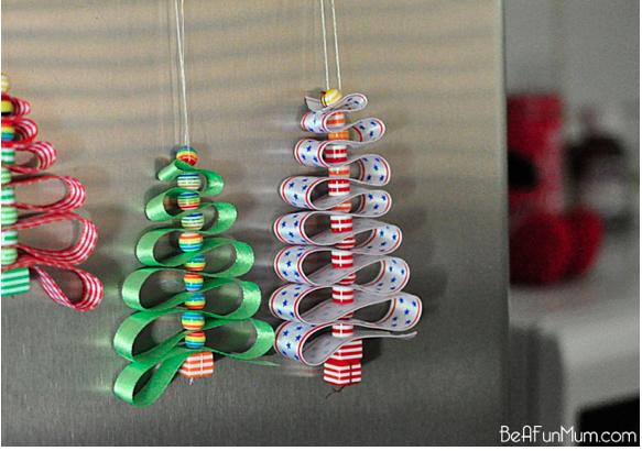 ashli brooke: DIY Christmas Ornament Beads, ribbon, needle and thread