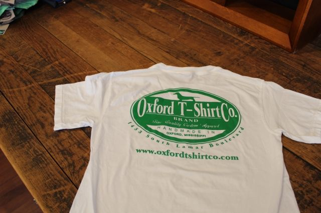 Oxford T Shirt Co Logo Tee Comfort Color White With Light Green