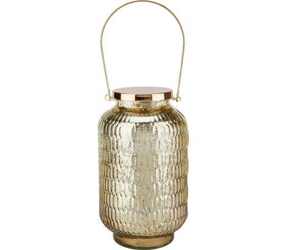 LED-Windlicht aus Metall und Glas in der Farbe Gold. D/H: ca. 14,1/24cm.