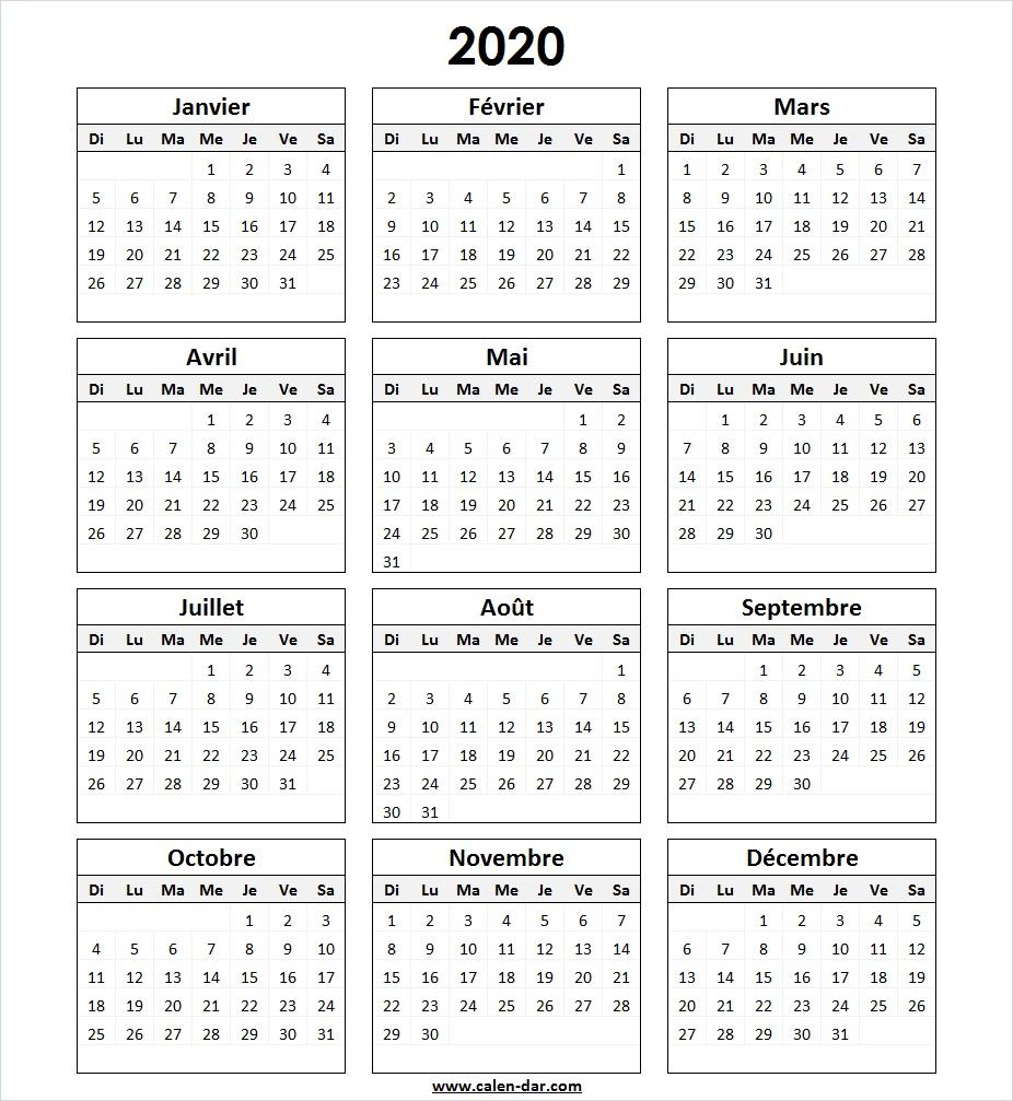 Modèle Calendrier 2020 à Imprimer in 2020 | Bullet journal layout