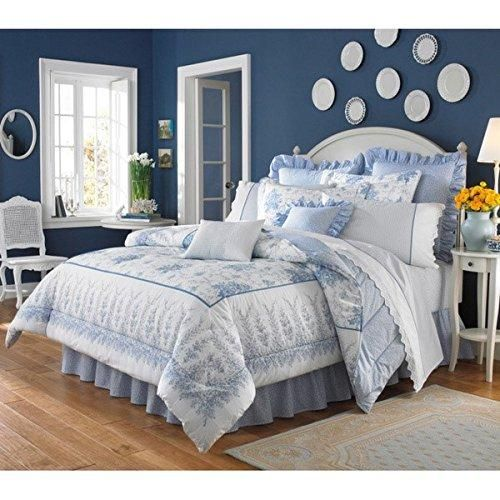 marvelous blue sky bedroom country styl | Sky Blue Floral Ruffled Comforter King Set White Color ...