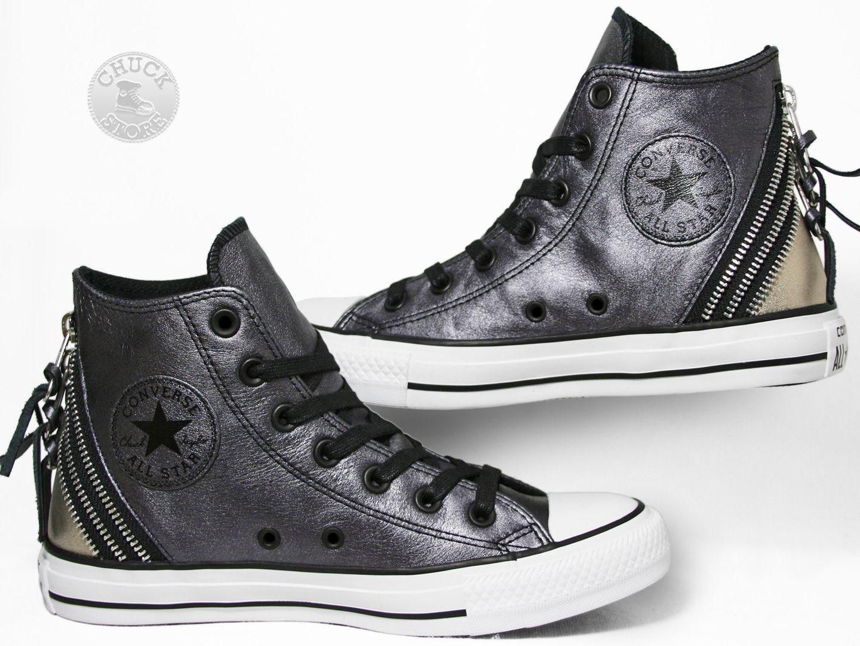 2b50d11bbee8 Converse Chucks Hi Tri Zip Leather Black Gold