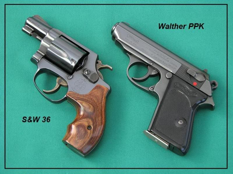 Smith & Wesson 36 Chiefs special and Walther PPK classic concealed