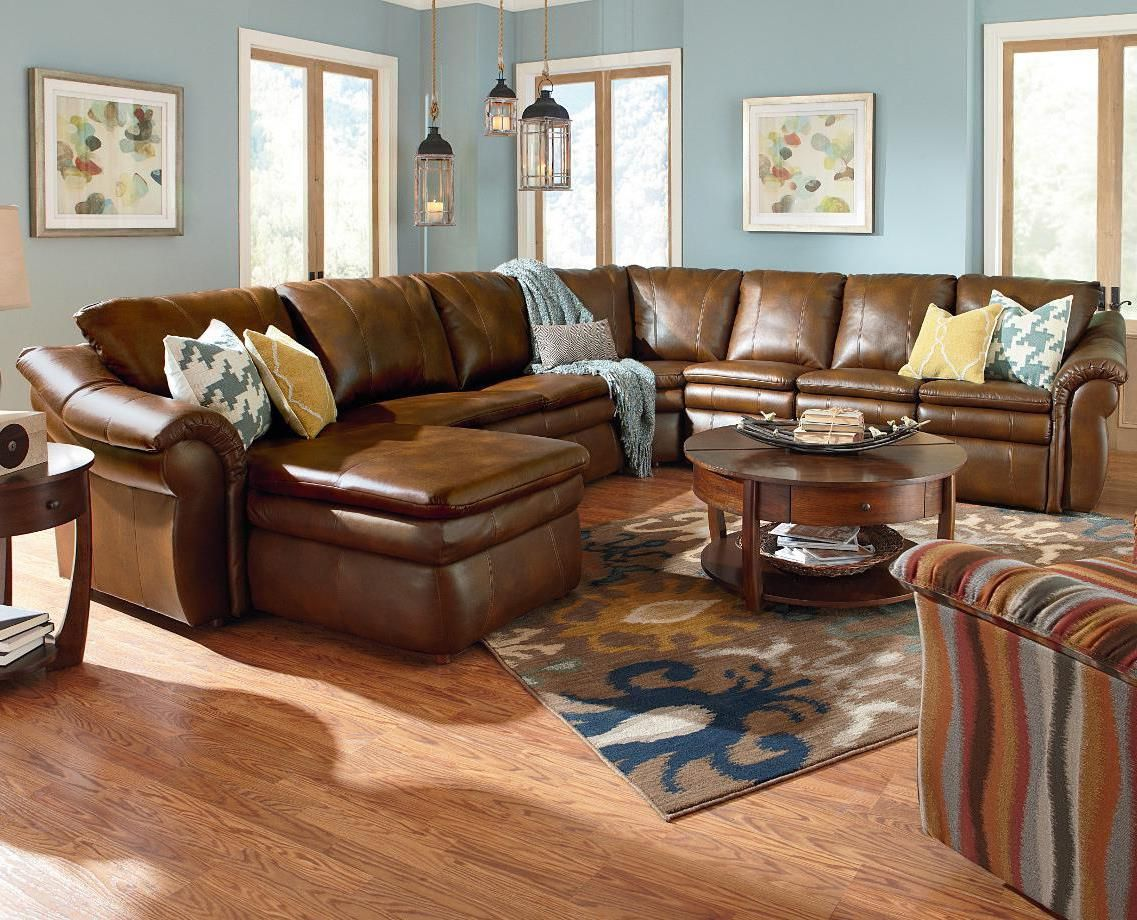 La-Z-Boy Devon 5 Piece Sectional with Left Arm Chaise and 2 Recliners - Riverview Galleries - Reclining Sectional Sofa Durham Chapel Hill Raleigh : lazyboy sectionals - Sectionals, Sofas & Couches