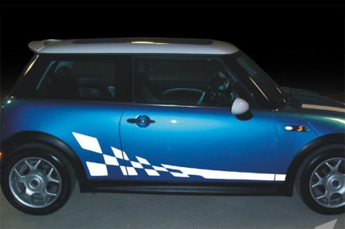 MINI Cooper Checkered Style Rocker Side Stripes Decals - Bmw mini cooper decals