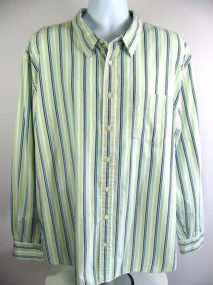 e2565227 TOMMY HILFIGER Mens Casual Shirt Trim Fit Long Sleeve Button Front Striped  XXL #TommyHilfiger #ButtonFront