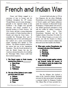 the french and indian war free printable american history reading with questions grades 7 12. Black Bedroom Furniture Sets. Home Design Ideas