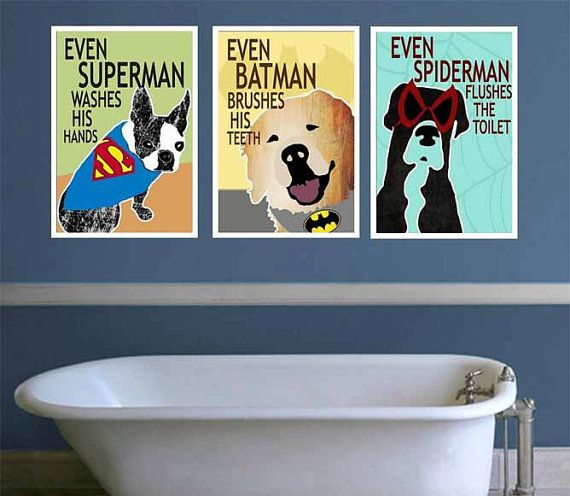. DIGITAL Superhero Bathroom Wall Art Superhero Bathroom Signs
