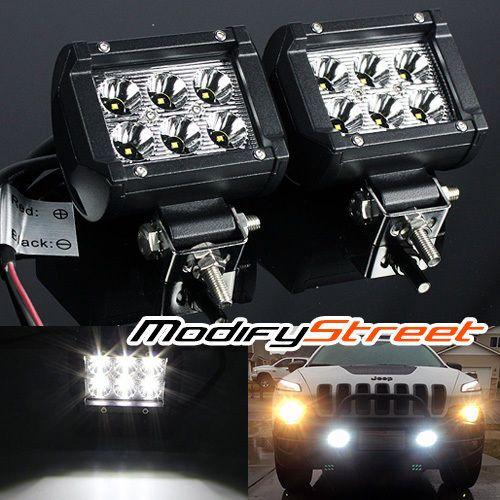 2pc off road 4 1800 lumen 6 cree led spot light bar jeep truck atv