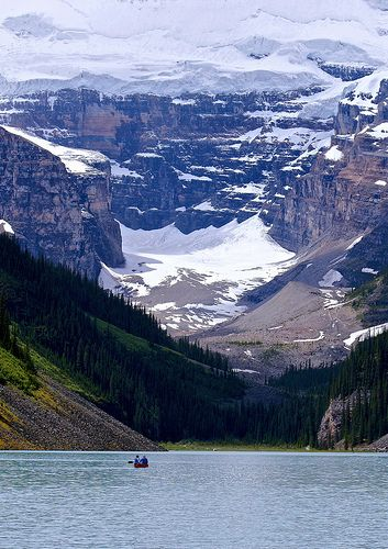 Canoe on Lake Louise, Banff National Park, Alberta Canada