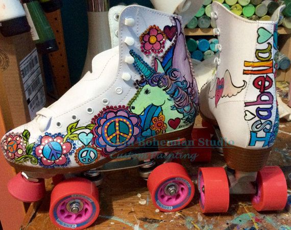 Unicorn Skate Party Roller Skates Hand Painted Colorful Rainbows