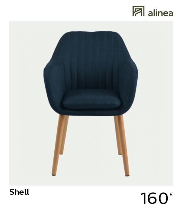 Charmant Alinea : Shell Chaise En Tissu Capitonnée Avec Accoudoirs Bleu Marine  Meubles Salle à Manger Et Cuisine Chaises   #Alinea #Décoration #Chaise  #Bleu ...