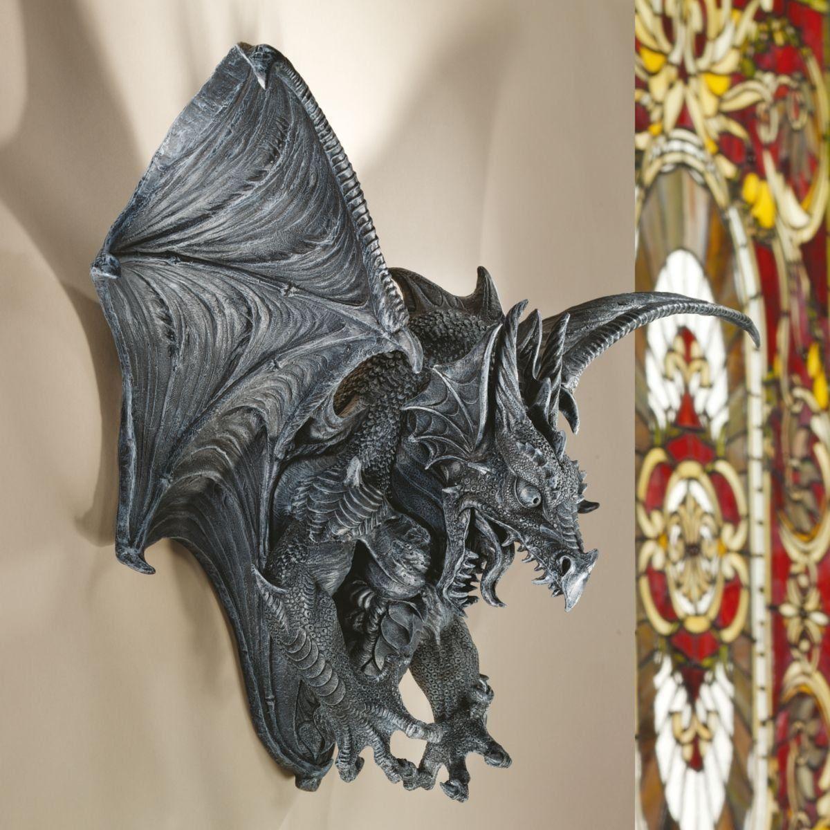 Pinterest Halloween Wall Decor : Xoticbrands quot gothic dragon bat wall sculpture statue