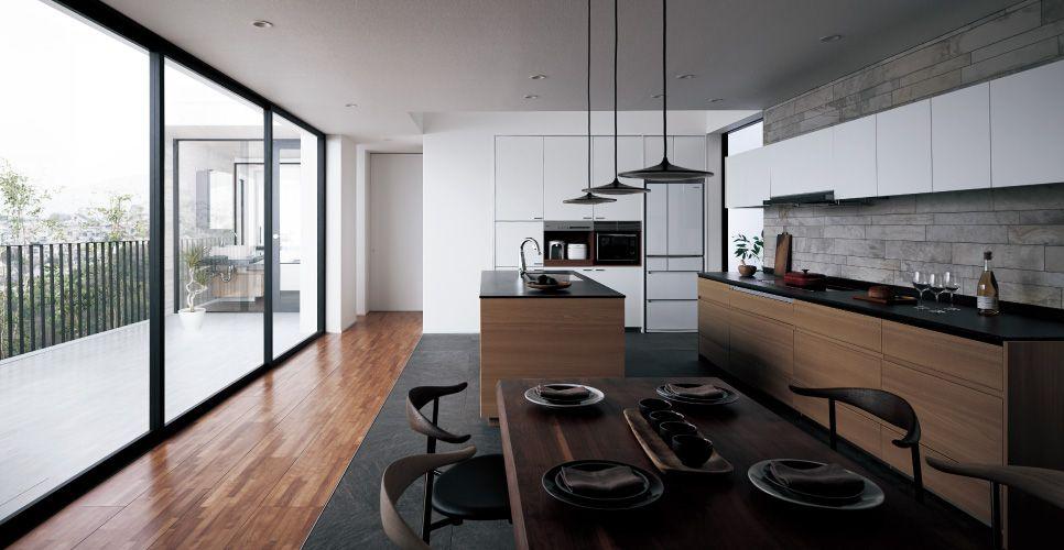 lクラス キッチン プラン例 型壁付け セミフロート アイランド