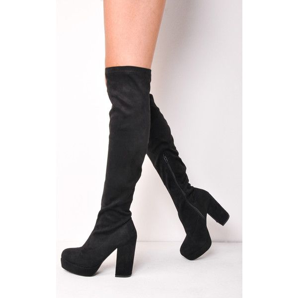 9e2e0f5f0b7 LILY LULU FASHION Knee High Chunky Block Heel Platform Faux Suede Long...  ( 43) ❤ liked on Polyvore featuring shoes