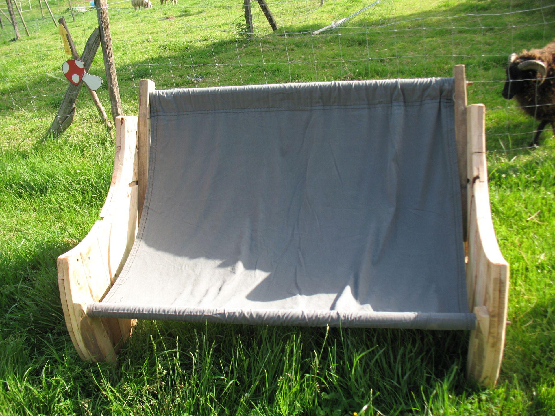 Meuble canapé-hamac, bois de touret et toile de coton   meuble ...