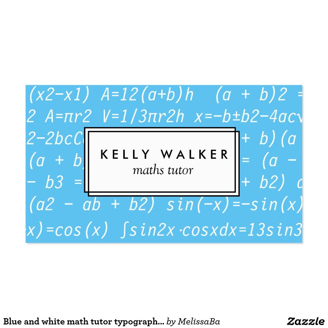 Blue and white math tutor typography business card unique blue and white math tutor typography business card magicingreecefo Gallery