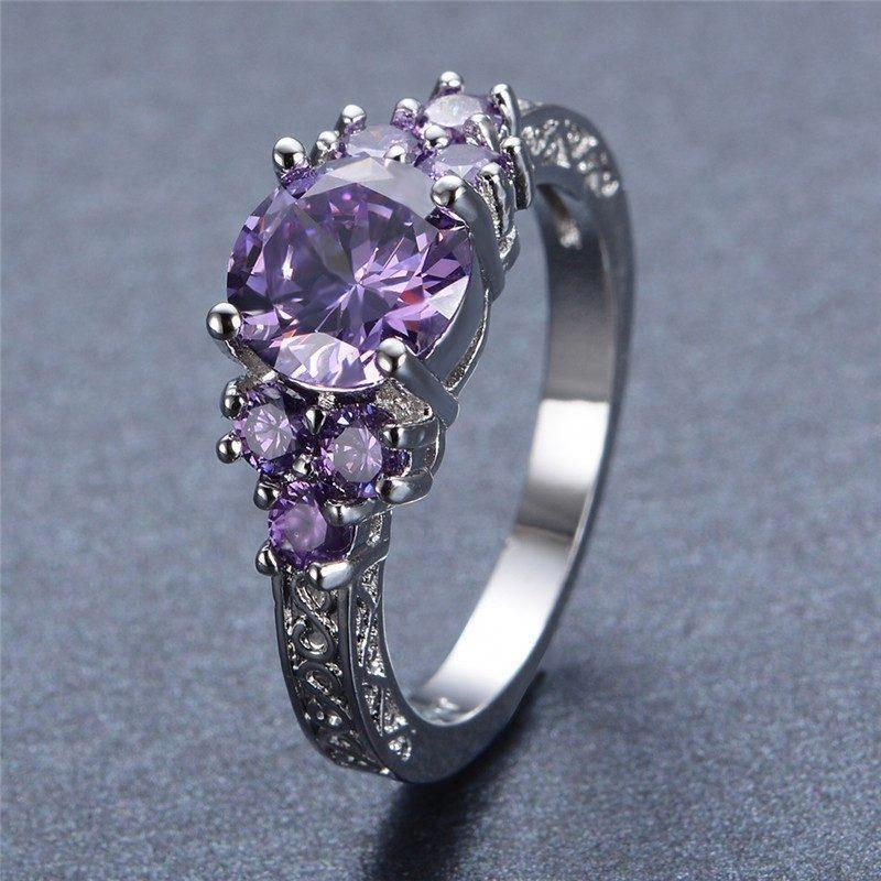 Wedding rings set Bridal rings set Antique rings set Women wedding ring Art deco rings set Unique bridal set Amethyst ring