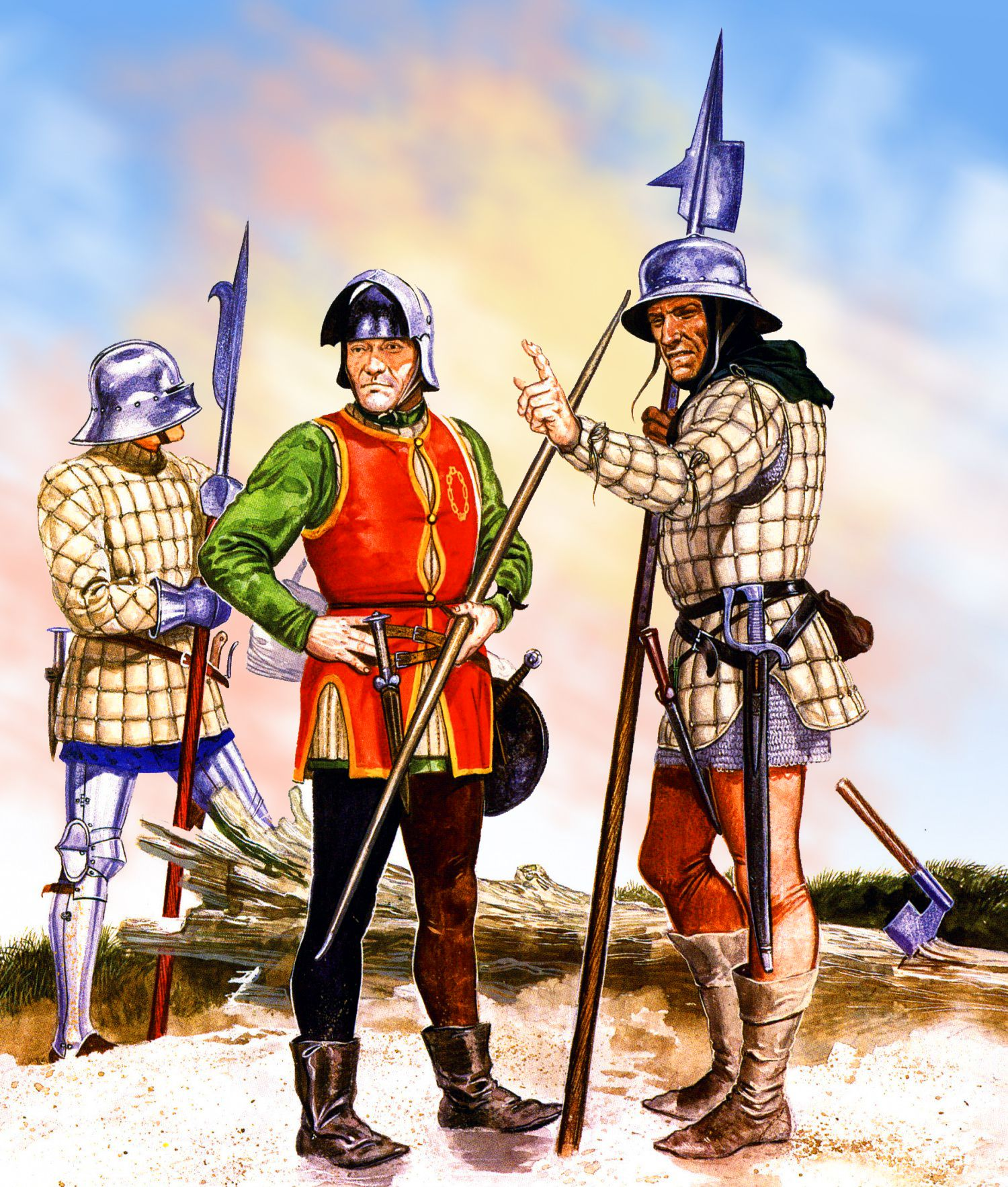 English Billman And Foot Soldiers During The War Of The Roses Wars Of The Roses Medieval Armor Ancient Warfare