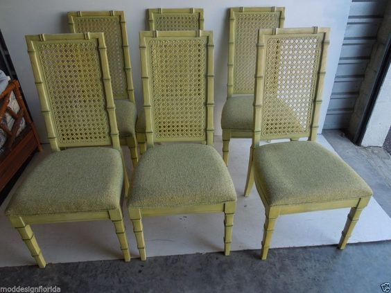 set  STANLEY Faux Bamboo Cane Back Dining Chairs Hollywood