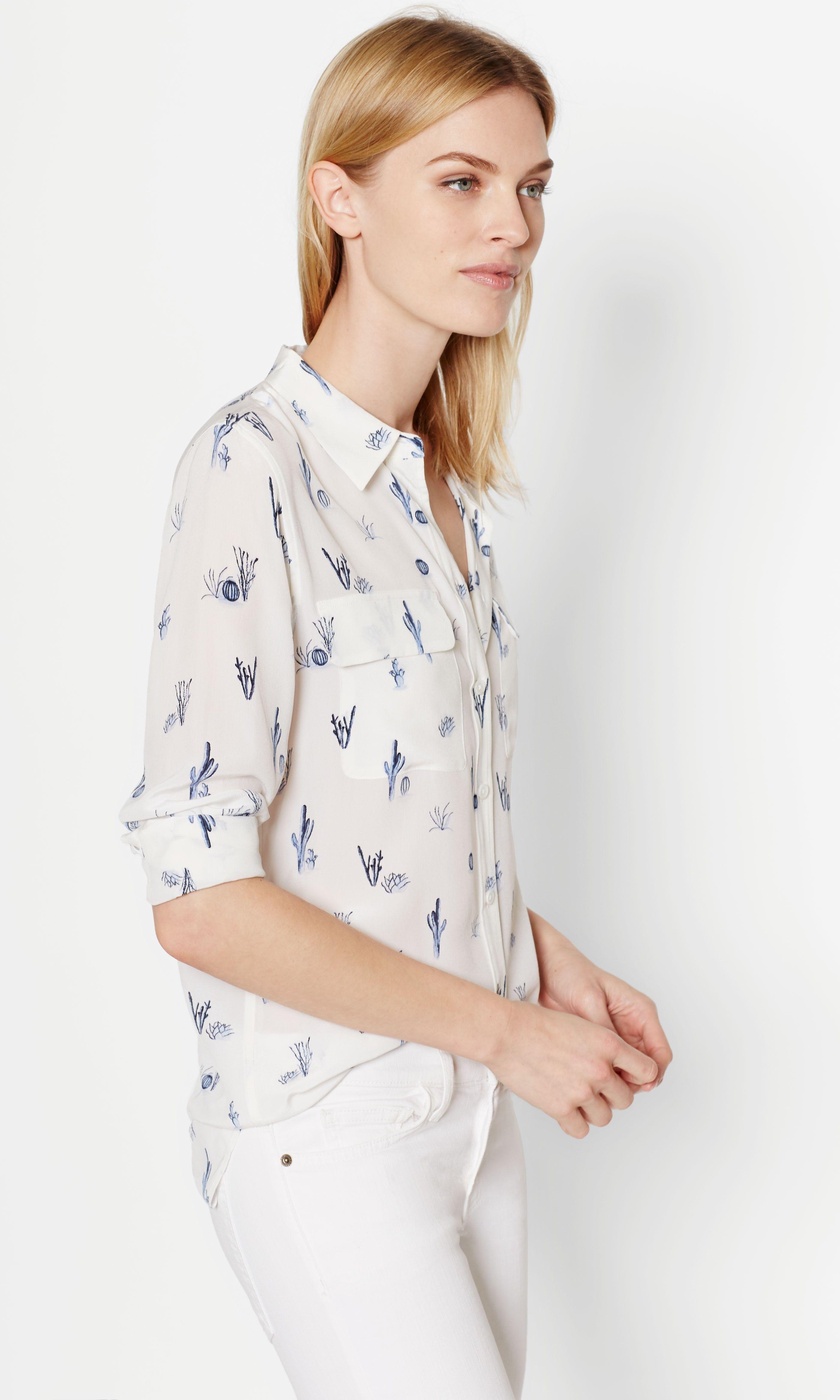 Cactus print silk shirts