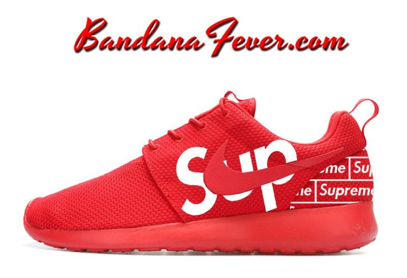 3049716411f9 Custom Supreme Nike Roshe Run Shoes Red