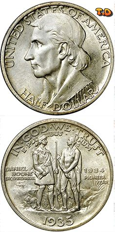 N T ½ Dollar Boone Bicentennial Country United States Years 1934 1938 Value 1 2 0 5 Usd 44 Eur Metal Silver 900 Weight 12 G Diameter 30 6