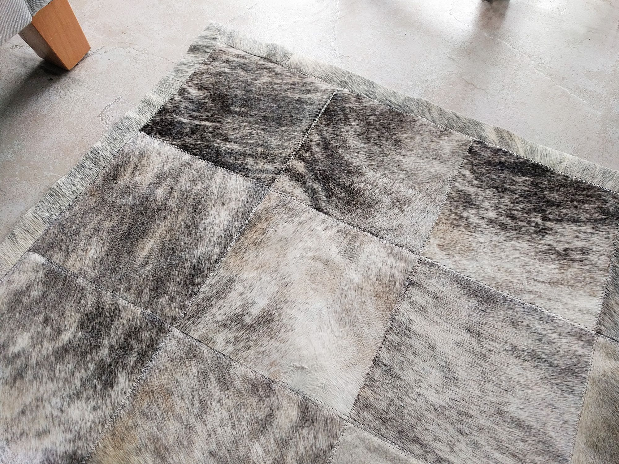 Gray Brindle Cowhide Patchwork Rug Brindle Hides Are Super Special They Always Create The Perfect Patchwork Cowhide Rug Patchwork Cowhide Cowhide Patch Rug