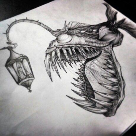 Anglerfish Draw By Alfredonajar Inksanity Art Tattoo Tattoo Drawings Fish Drawings