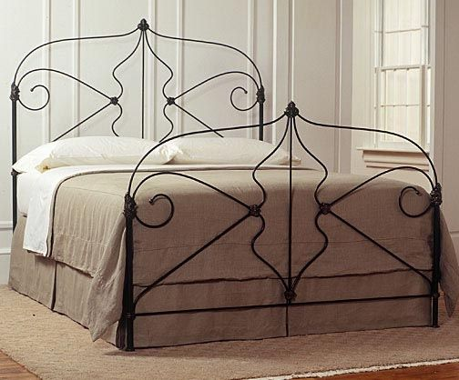 Marseille Bed  Ornate hand-forged iron scrollwork with decorative castings in an antique black finish with gold highlights or antique white finish.