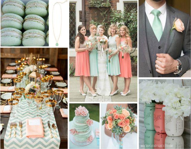 Mint Green Peach Wedding Color Scheme Inspiration Kelsey Smith Peach Wedding Colors Grey Peach Wedding Cream Wedding Colors