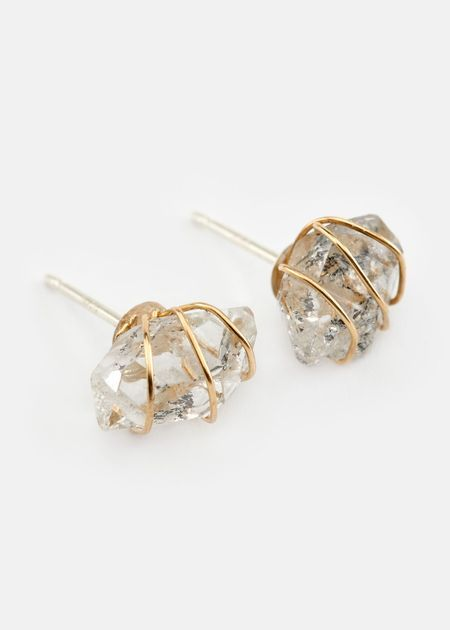 Wire Wrapped Luminous Herkimer Diamond Studs | Rodale's