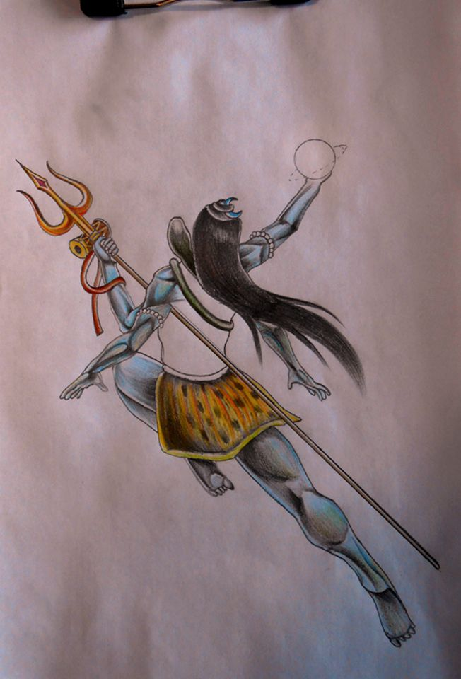 Lord Shiva Lordshiva Sketch Colored Universe Angry Shiv