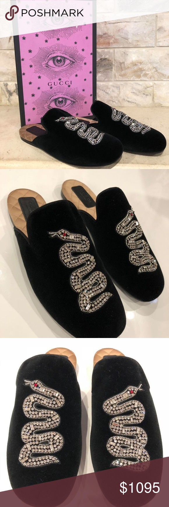 e8774abbc4c Gucci Lawrence Princetown Crystal Snake Slide Gucci Lawrence Princetown  Crystal Snake Slide Loafer Mule Slipper Flats