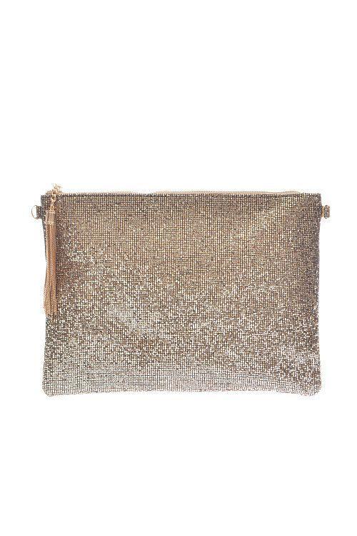 Insta Glam Metallic Clutch - Gold