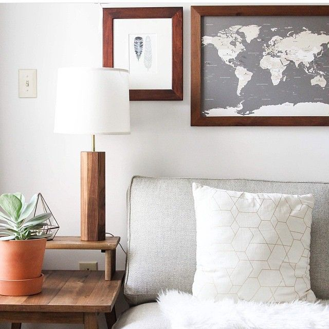 Small world push pin map classic frame travel maps modern and small world push pin map classic frame gumiabroncs Image collections