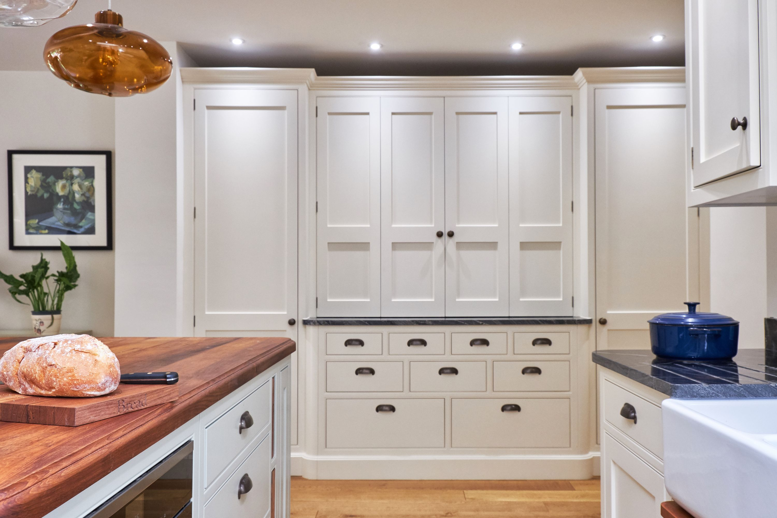Bespoke kitchen farrow and ball clunch, kitchen island, cabinetry ...