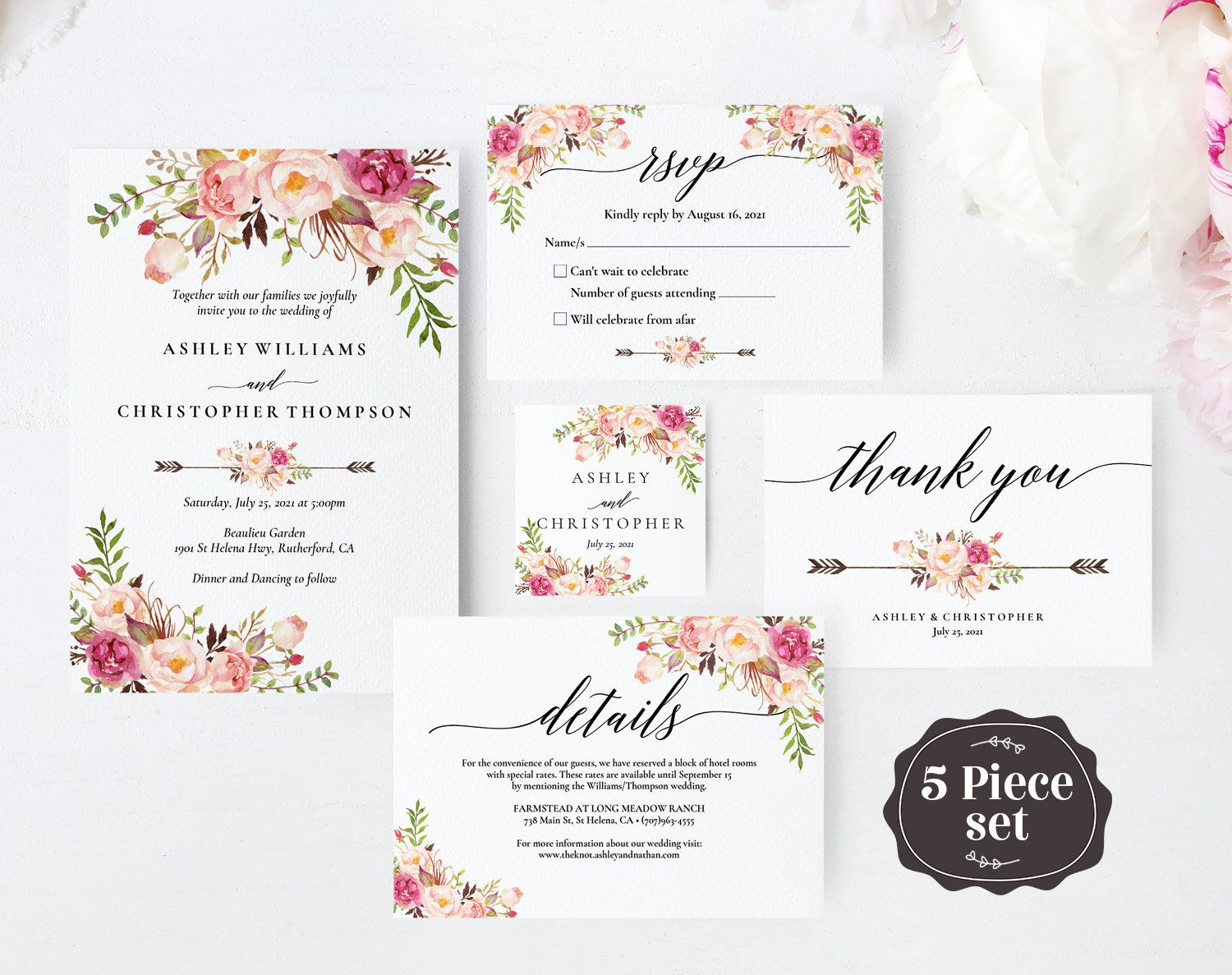 Floral Wedding Thank You Place Card Printable Editable PDF Ivory Wedding Table Thank You Template A009