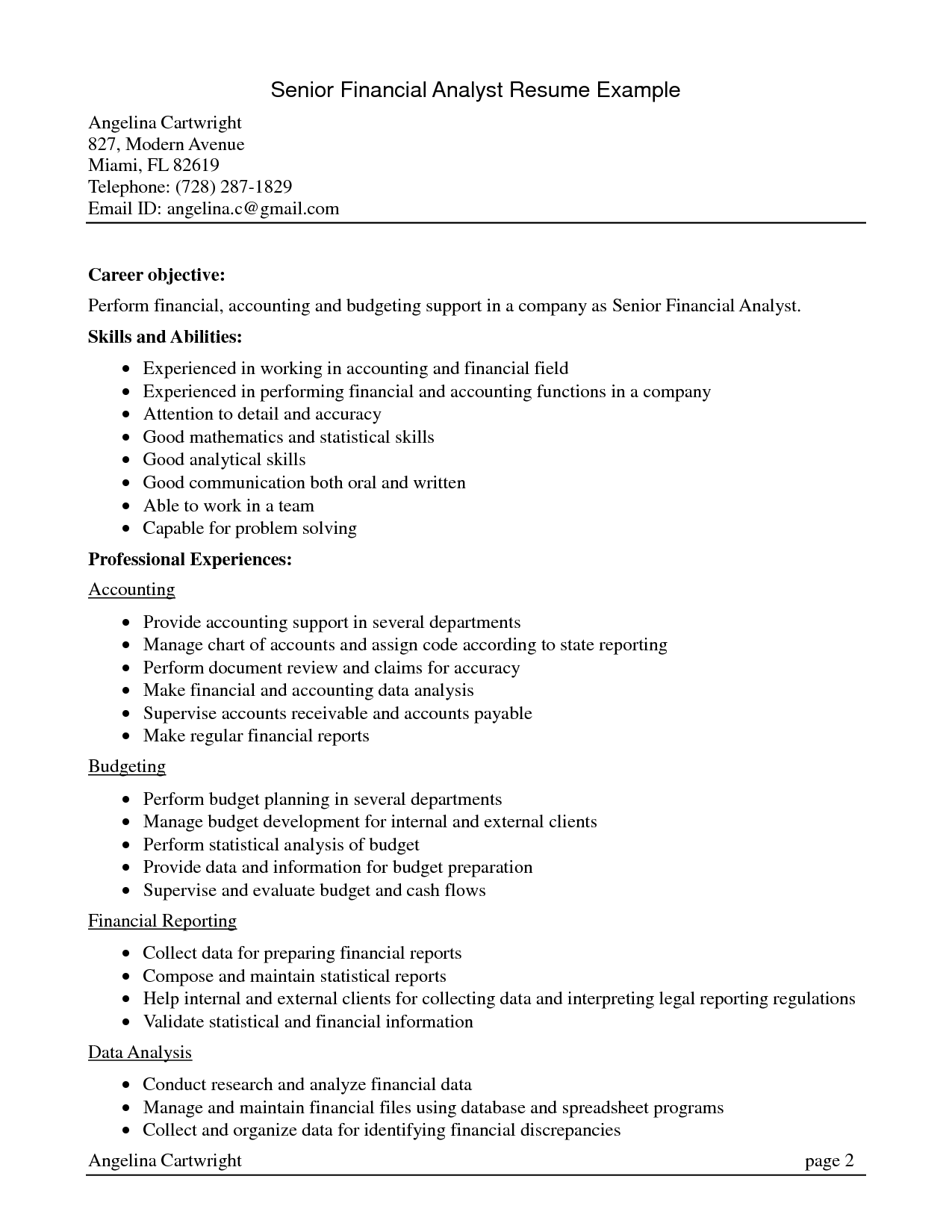 Senior Accountant Resume Summary Financial Achievements Cost